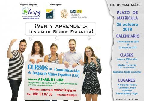 Cartel do curso da lingua de signos